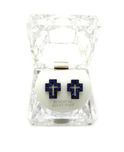 Earrings Lucite Pierced (New Iced Out Cross Piece Pierced Post Fashion Earring w/Clear Lucite Box EX028BL)