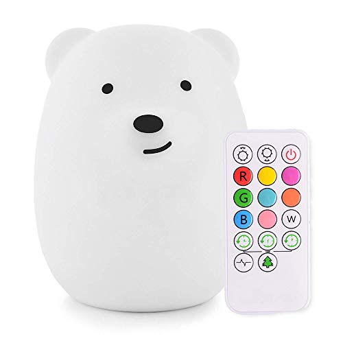 Cute Bear Nursery Night Light for Kids, iWheat Soft Silicone Tap & Remote Control Night Light, LED Multicolor Night Light Portable USB Rechargeable Best for Baby Children