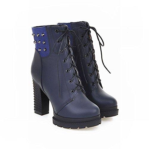 Charme Voet Dames Western Lace Up Platform Hoge Hak Korte Laarzen Blauw