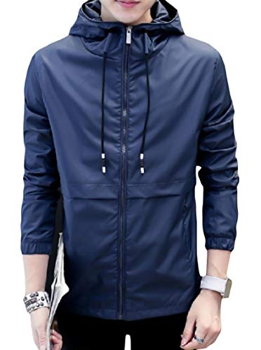 Long Mens Drawstring Jacket Blue Energy Sleeve Oversized Zip Hood Pockets Outwear Y1aPq7