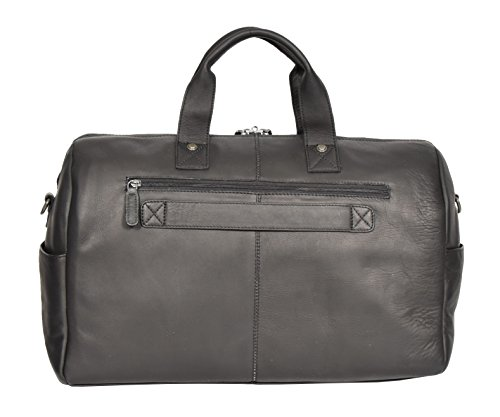 Black Real Leather Holdall Weekend Bag Business Travel Overnight Gym Bag Manila by A1 FASHION GOODS (Image #3)