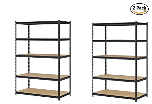 Edsal URWM184872BK Black Steel Storage Rack, 5 Adjustable Shelves, 4000 lb. Capacity, 72″ Height x 48″ Width x 18″ Depth