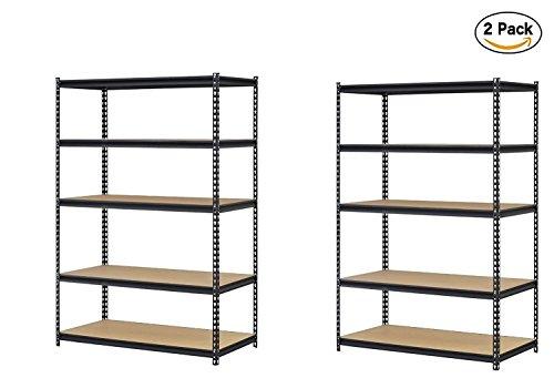 Edsal URWM184872BK Black Steel Storage Rack, 5 Adjustable Shelves, 4000 lb. Capacity, 72″ Height x 48″ Width x 18″ Depth