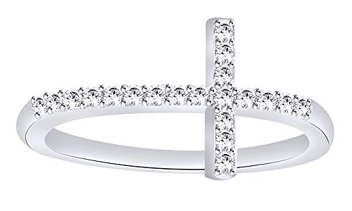 AFFY White Natural Diamond Sideways Cross Ring in 10k White Gold (0.2 Cttw)