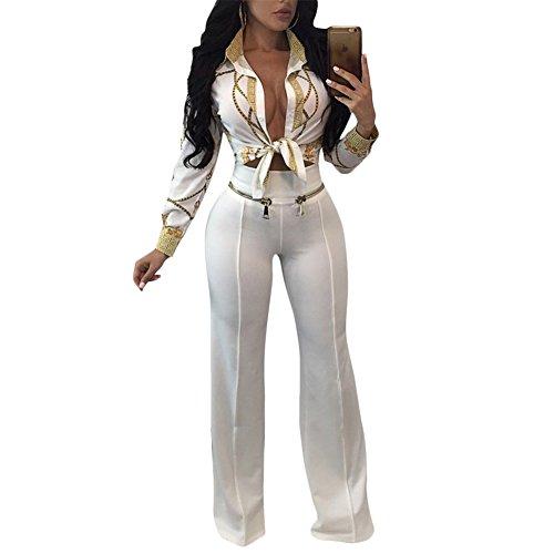Women Sexy Gold Chain Long Sleeve Shirt Blouse Top White XL