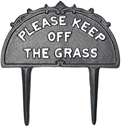 Enjoyyouselves Bitte halten Sie Sich vom Grasschild fern, Gusseisen-Hofschild mit Pfahlgartendekoration - 245 x 260 x 5 mm