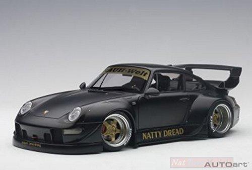 Porsche 993 RWB in Matt Black w Gold Wheels Diecast Model Car in 1:18 Scale by AUTOart