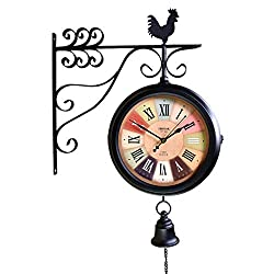 LRW Nordic Style Living Room Wrought Iron Mute Double-Sided Roman Numeral Clock Archaize Wall Clock Retro Craft Two-Sided Clock
