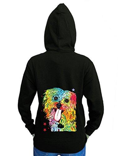 Neon Shih Tzu Painting Junior's Black Fleece Zipper Hoodie Medium (Shih Tzu Fleece)