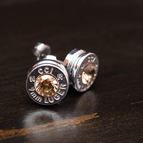 9MM Aluminum Bullet Casing Earrings Champagne CZ with Titanium Posts, Hypoallergenic, Nickel Free, Bullet Earring Studs