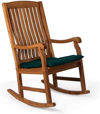 All Things Cedar TR22-G Teak Rocker Chair with Cushion, Green