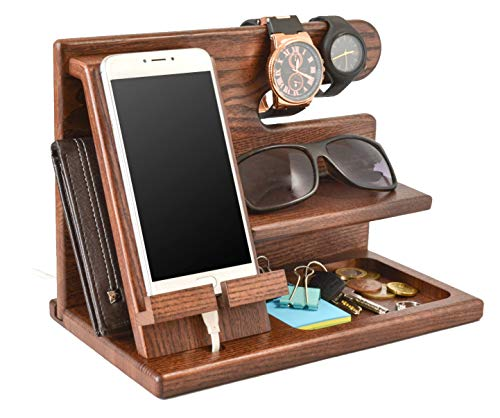 Wood Phone Docking Station Ash Key Holder Wallet Stand Watch Organizer Men Gift Husband Wife Anniversary Dad Birthday Nightstand Purse Father Graduation Male Travel Idea Gadgets Solid (Men For Birthdays Gifts)