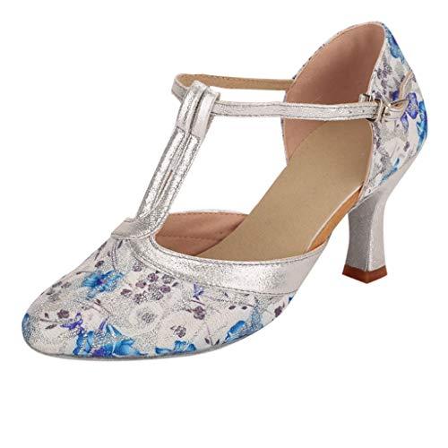 HOSOME Women Dance Shoes Dancing Rumba Waltz Prom Ballroom Latin Salsa Sandals Shoes Blue