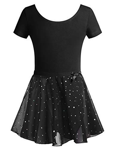 - Zaclotre Little Girls Sequined Camisole Ballet Dance Leoatards Dress with Spark Tutu Skirt Black
