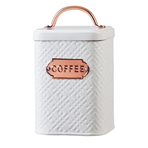 Amici Home, A5IP005R, Ventana Collection Coffee Metal Storage Canister, Food Safe, Copper Handle and Relief Label, Push Top Lid, 60 Ounces