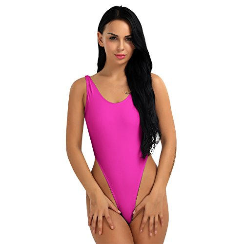 FEESHOW Women's One Piece Bodysuit High Cut Swimsuit Bikini Thongs Gymnastics Leotard Rose one Size ()