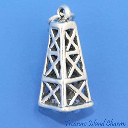 925 Sterling Silver Oil Derrick Charm Made in USA