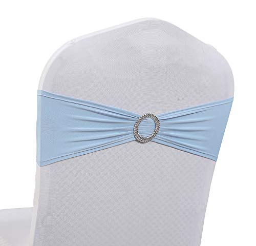 (mds Pack of 125 Pcs Spandex Chair Sashes Bows Elastic Chair Bands Ties with Buckle Slider Bow for Wedding Decoration Lycra Slider Sashes Bow - Baby Blue)