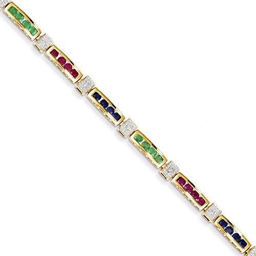 14k Yellow Gold Diamond Completed Ruby/Sapphire/Emerald Fancy Bracelet 7inch (0.024ct, - Bracelet Emerald Sapphire Ruby