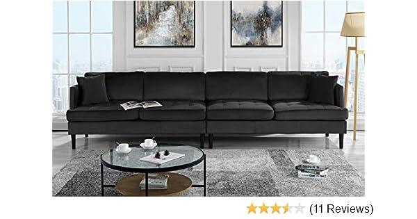 . Mid Century Modern Extra Large Velvet Sofa  Living Room Couch  Black