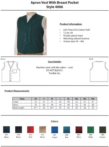 Ed Garments Cotton Twill Matching Button Apron Vest, ROYAL, X-Large by Edwards Garment (Image #3)