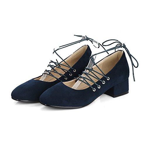 Balamasa Dames Low-cut Bovendeel Bandage Vierkante Hakken Urethaan Pumps-schoenen Blauw