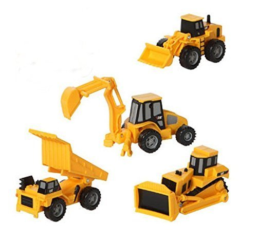 Caterpillar CAT Mini Machine Construction Toy Truck Mini Machine Set of 4, Dump Truck, Bulldozer, Wheel Loader and Excavator Free-Wheeling Vehicle Sand Box Toy Children Cake Toppers Party -
