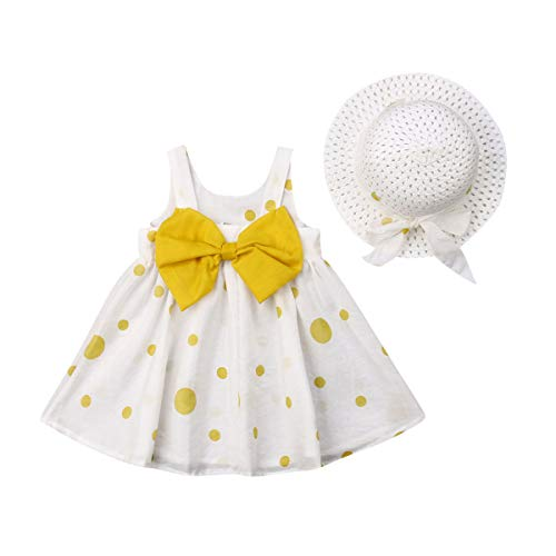 2PCS Clothes Outfit Sets Toddler Baby Girl Bodysuit Polka Dot Sleeveless Bowknot Romper Tutu Dress Straw Hat Clothes Summer (Yellow,6-12 Months) from niceclould
