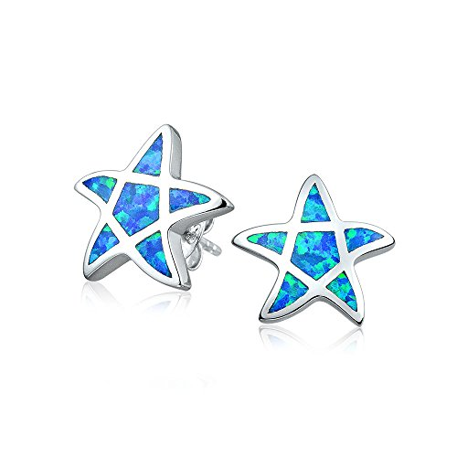 (Blue Created Opal Inlay Nautical Ocean Sea Life Starfish Stud Earrings For Women 925 Sterling Silver October Birthstone)