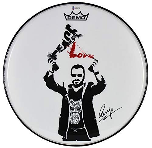 Ringo Starr Beatles Authentic Signed 14 Inch Peace Love Drum Head BAS #A88379