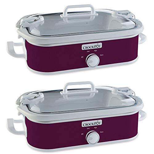 Plum Casserole Dish - Crock-Pot 3.5 Quart Rectangular Casserole Crock Manual Slow Cooker, Perfect Plum (2 Pack)