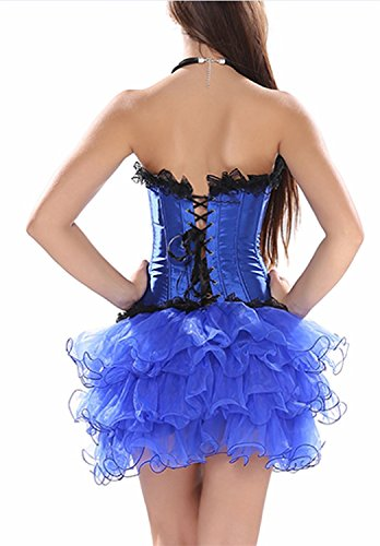 Elizabethan Costumes For Sale (Reinhar Fashion Stage Costumes Lace up Outfit Overbust Gothic Corset and Lace Tutu Skirt Blue-BlueM(waistline:26-27 Inch))