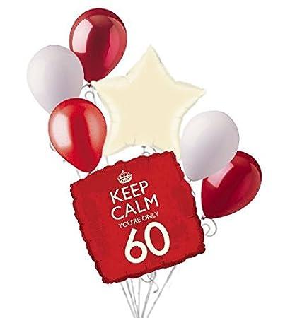 Amazon.com: 7pc Rojo Keep Calm You re Only 60 Feliz ...