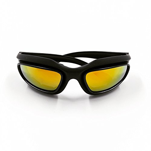 Street Smoked Lens Set (Motorcycle Riding Glasses, Outdoor sunglasses, Protective Goggles for Day/Night/Dawn (Revo Red))