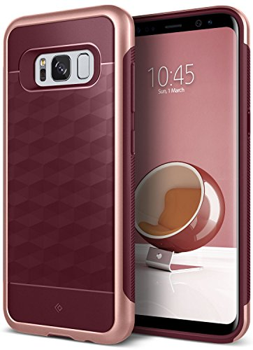 Galaxy S8 Plus Case, Caseology [Parallax Series] Slim Dual Layer Protective Textured Geometric Cover Corner Cushion Design Samsung Galaxy S8 Plus (2017) - Burgundy by Caseology