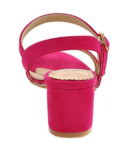 Dress Solid Sandals Open Toe Women Pink Aalardom Buckle With qSWnHHPc