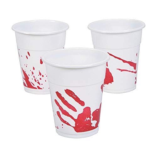Fun Express - Bloody Handprint Disposable Cups (50pc) for Halloween - Party Supplies - Drinkware - Disposable Cups - Halloween - 50 Pieces]()