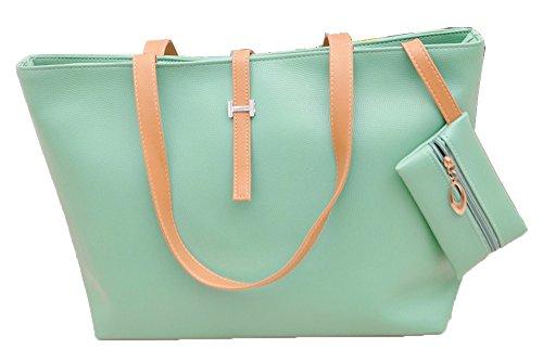 1 x Totalizador Grande Tamaño –Señoras de la Manera del Diseñador Hobos / Bolso / La Bolsa de Hombro con un Bolsillo con Cremallera - Naranja Verde