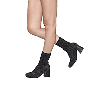Alva Anna Landon Women's Ankle High Booties Stretchy Sock Knitting Top Stacked Heel Ladies Shoes, Color Black, Size:10