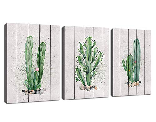 - Green Wall Art Cactus Canvas Pictures Succulent Plant Painting 3 Piece Simple Life Canvas Art Prints Contemporary Artwork for Bathroom Kitchen Office Wall Decor Home Decoration 12