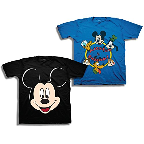 Mickey Mouse Clubhouse Shirt - Disney Boys Mickey Mouse Shirt - 2 Pack of Mickey Mouse Tees - Mickey Mouse, Donald Duck, Goofy, Pluto, and Minnie Mouse (Blue/Black, 3T)