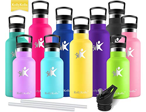(KollyKolla Vacuum Insulated Water Bottle Metal Water Bottles with Straw & Filter Hot & Cold Drinks Bottle Stainless Steel Thermoflask Leakproof Kids for Gym,Cycling,Football,(750ml Light Yellow))