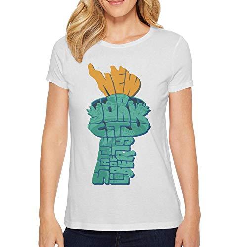 White Women Tshirt Slim-Fit Plain Graphic Ultra Running New-York-City-NY-Statue-of-Liberty-]()