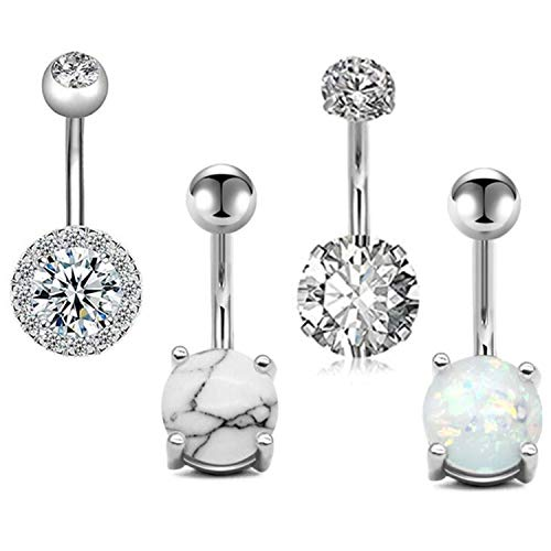 Cilkus 14G Stainless Steel Belly Button Rings for Women Girls Navel Barbell Stud CZ Body Piercing Rings