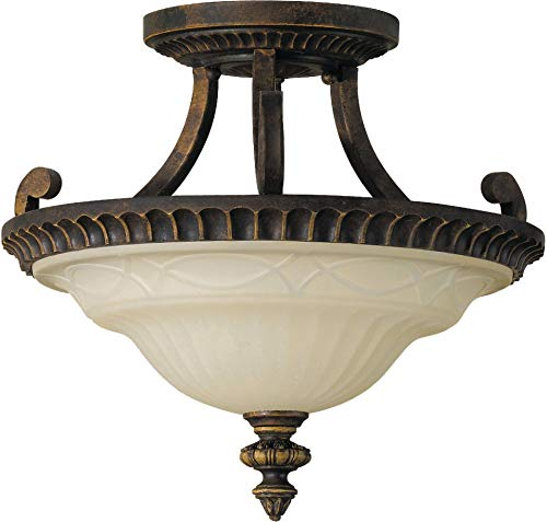 "Feiss SF238WAL Drawing Room Glass Semi Flush Ceiling Lighting, Brown, 2-Light (15""Dia x 12""H) 200watts from Feiss"