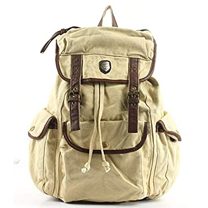 132fd3d9edca VORCOOL Bug Fashion Multi-Function Unisex Men Women Leisure Canvas Backpack  Rucksack School Bag Outdoor Travel Bag (Beige)  Amazon.in  Sports