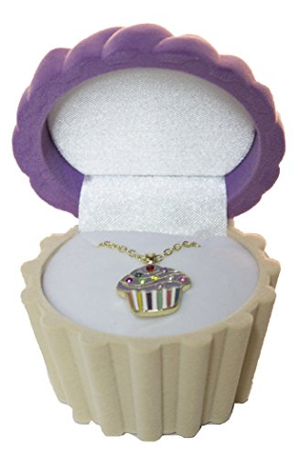 Cupcake Cuties Enamel Pendant Necklace in Figural Gift Box (Sold Individually) (Purple) (Cupcake Cutie)
