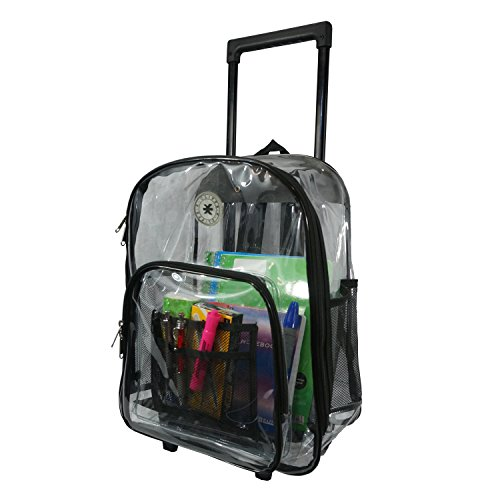 Rolling Clear Backpack Heavy Duty Bookbag Quality See Through Workbag Travel Daypack Transparent School Book Bags with Wheels Black (Duty Rolling Heavy Backpack)