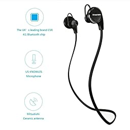 Amerzam Bluetooth Headphones 4.1 Earbuds Wireless Sports Headset Stereo Headphones with Mic, Black