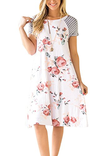 9b1cc1d30c772 Hippolo Robe à fleurs pour Femme Manches courtes et décolletée rond Ligne A  évasée pour l'été Longueur genoux